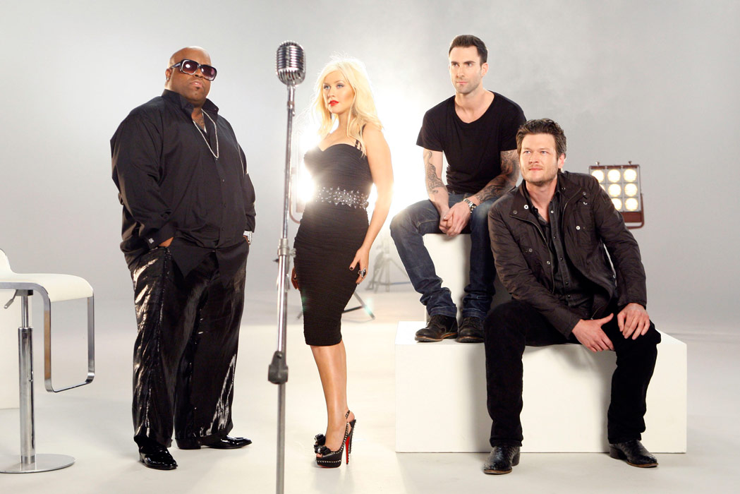 Cee Lo Green Christina Aguilera Adam Levine and Blake Shelton coaches mentors on The Voice
