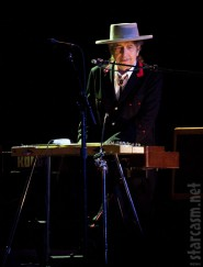 Bob Dylan on stage at the Byron Bay Bluesfest April 26 2011