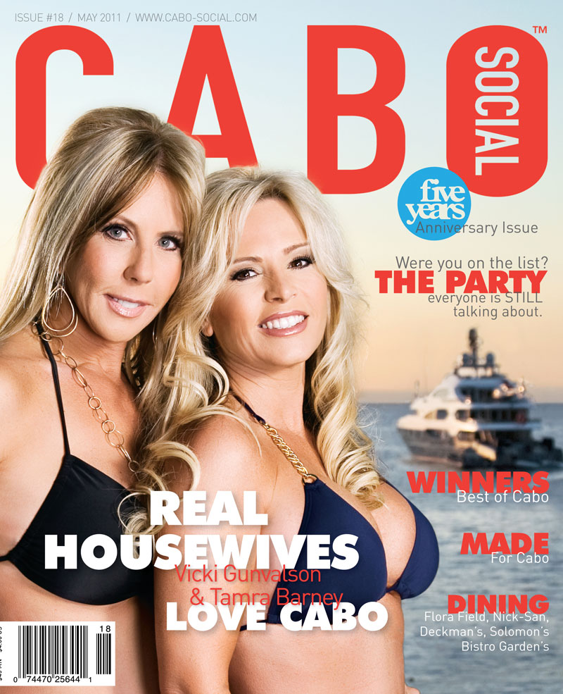 Cabo Social magazine cover with real housewives Vicki Gunvalson and Tamra Barney