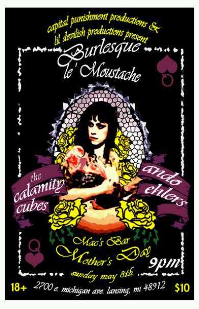 Burlesque Le&#039; Moustache, The Calamity Cubes and Ando Ehlers concert poster