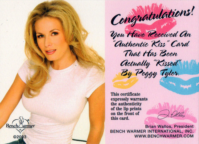 Bench Warmer Authrntic Kiss card featuring lipstick from Peggy Tyler's lips