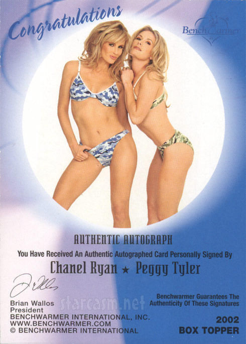Peggy Tyler Chanel Ryan autographed Bench Warmer box topper card