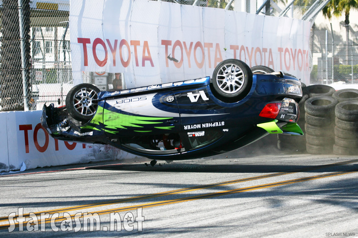True Blood's Stephen Moyer crashes while driving a race car at Long Beach Grand Prix