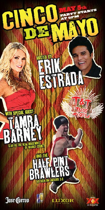 Tacos and Tequila party hosted by Erik Estrada with special guest Tamra Barney poster