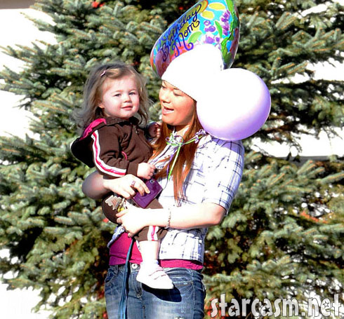 Teen Mom Amber Portwood and daughter Leah with balloons