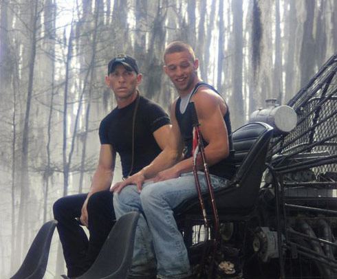Jay Paul Molinere and R.J. Molinere from Swamp People ride an air boat