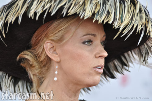 Kate Gosselin's black feather hat at the Kentucky Derby