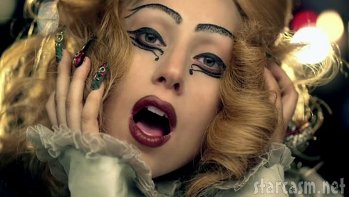 Lady Gaga with crazy fingernails and eye makeup from the Judas video
