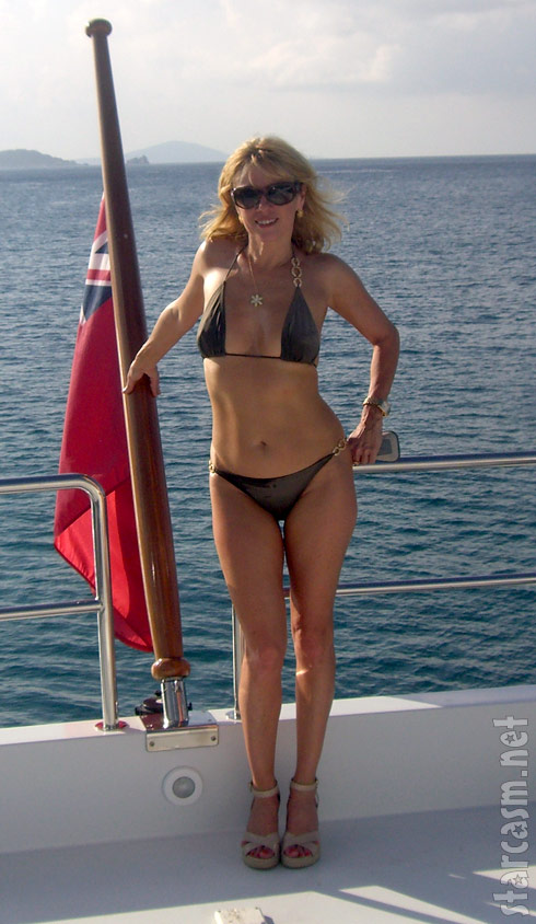Ramona Singer looking sexy in a bikini while on a boat