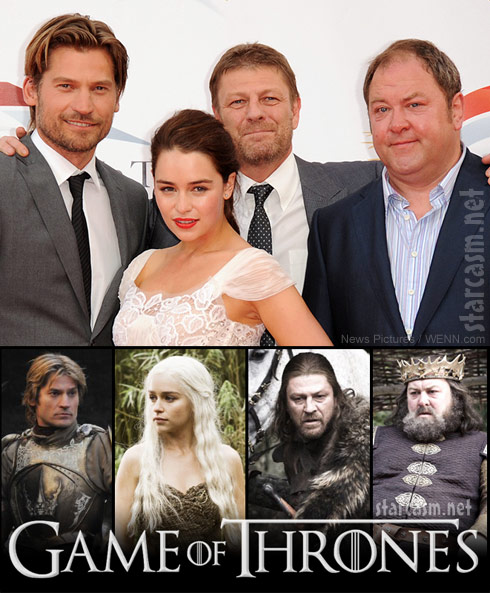 Nikolaj Coster-Waldau Emilia Clarke, Sean Bean and Mark Addy from Game of Thrones