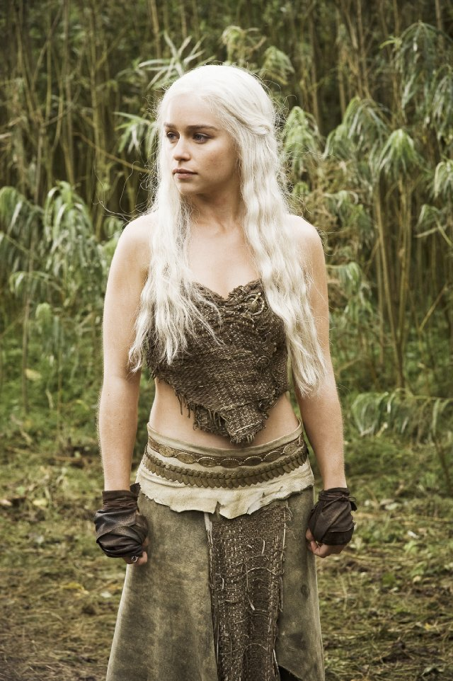 Emilia Clarke as sexy blond Dothraki Khaleesi Daenerys Targaryen in Game of Thrones