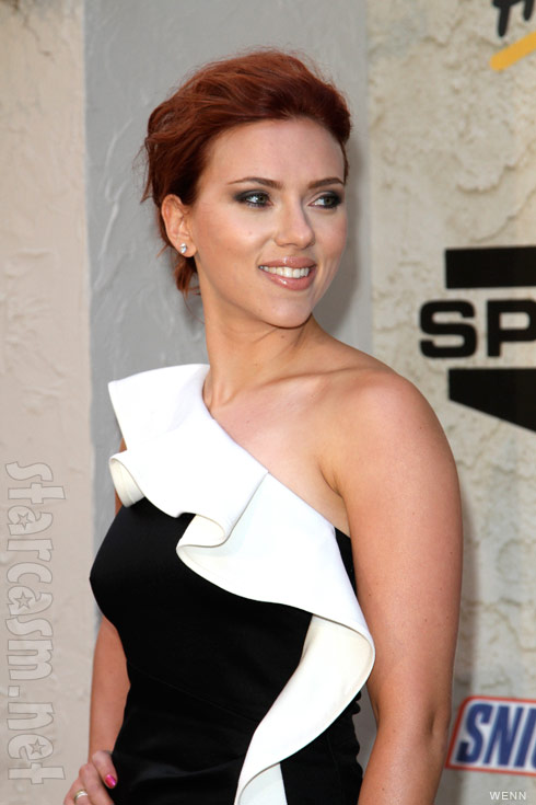 Scarlett Johansson with really short red hair reportedly for her Black Widow role in The Avengers