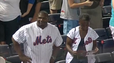 New York Mets fans watch walk off balk loss to the Atlanta Braves