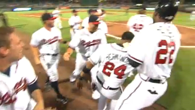 Atlanta Braves Diory Hernandez scores on walk off balk by D.J. Carrasco of New York Mets
