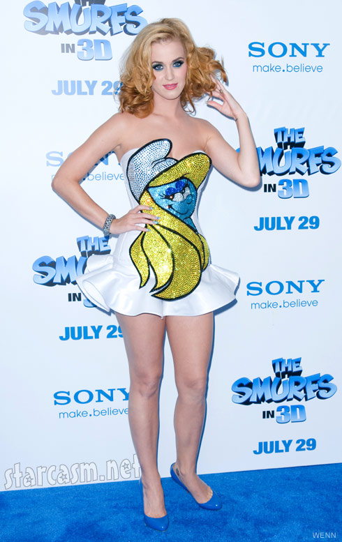 Katy Perry wears a dress with Smurfette on the front to The Smurfs premiere