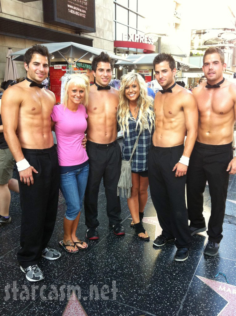Teen Mom 2 stars Leah Messer and Chelsea Houska in LA with Chippendales dancers