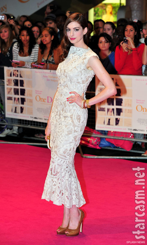 Anne Hathaway on the red carpet at the London Premiere of One Day