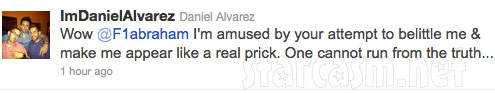 Daniel Alvarez expresses anger at ex Farrah Abraham on Twitter