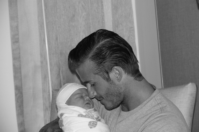 David Beckham poses with newborm daughter Harper Seven Twitter photo