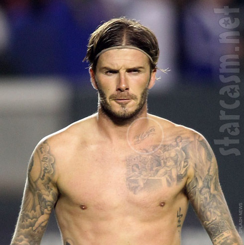 David Beckham's upper body tattoos