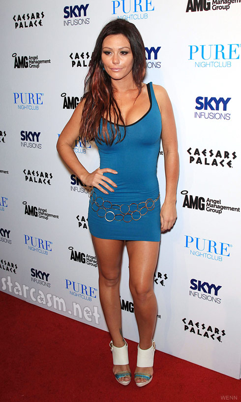 JErsey Shore's JWoww in a sexy tight blue dress in Las Vegas