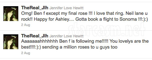 Jennifer Love Hewitt tweets her affection for The Bachelorette's Ben F. Flajnik