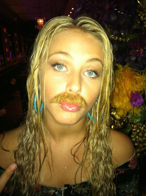 Julianne Hough with a moustache leaked photo