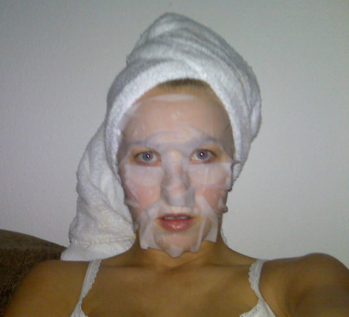 Julianne Hough appears to have wet toilet paper on her face in this leaked photo