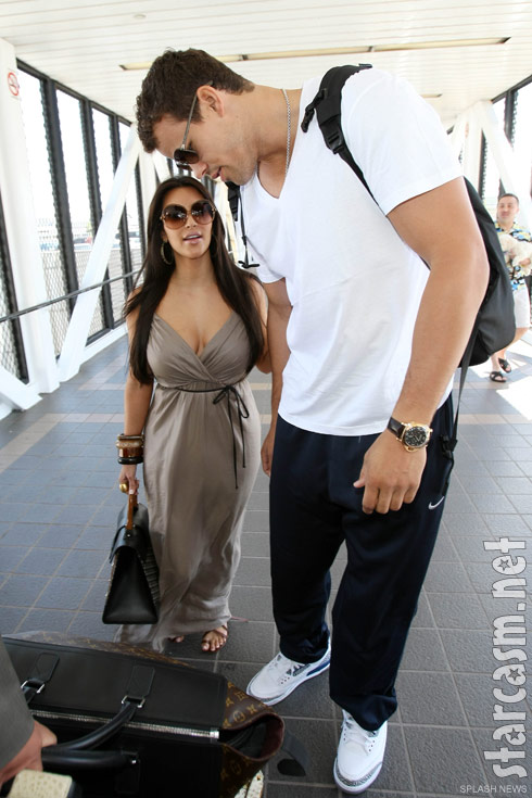 Newlyweds Kim Kardashian and Kris Humphries at LAX departing for a reported European honeymoon