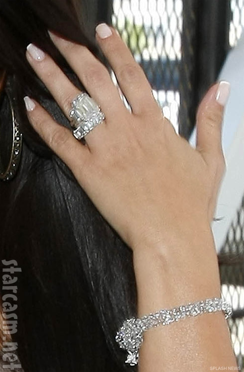 Photo of Kim KArdashian's wedding ring and engagement ring