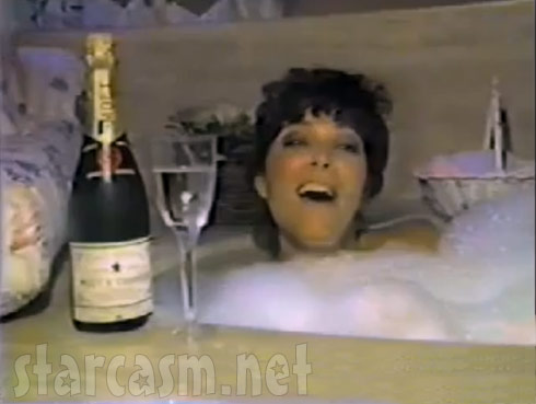 "Kris Jenner naked in the bath tub for her 1985 ""I Love My Friends"" music video"