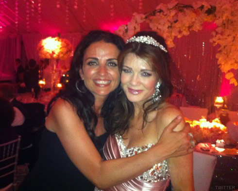 Jenni Pulos and Lisa Vanderpump at Pandora Vanderpump-Todd's wedding