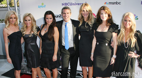Andy Cohen poses with RHOBH at the NBC Press Tour Party