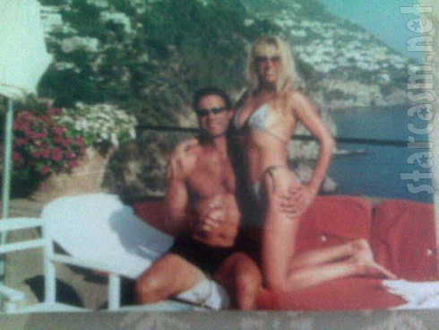 Younger Ramona Singer in a bikini and Mario Singer in swimming trunks vacationing in Italy