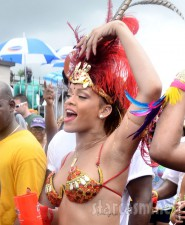Rihanna parties at Kadooment 2011