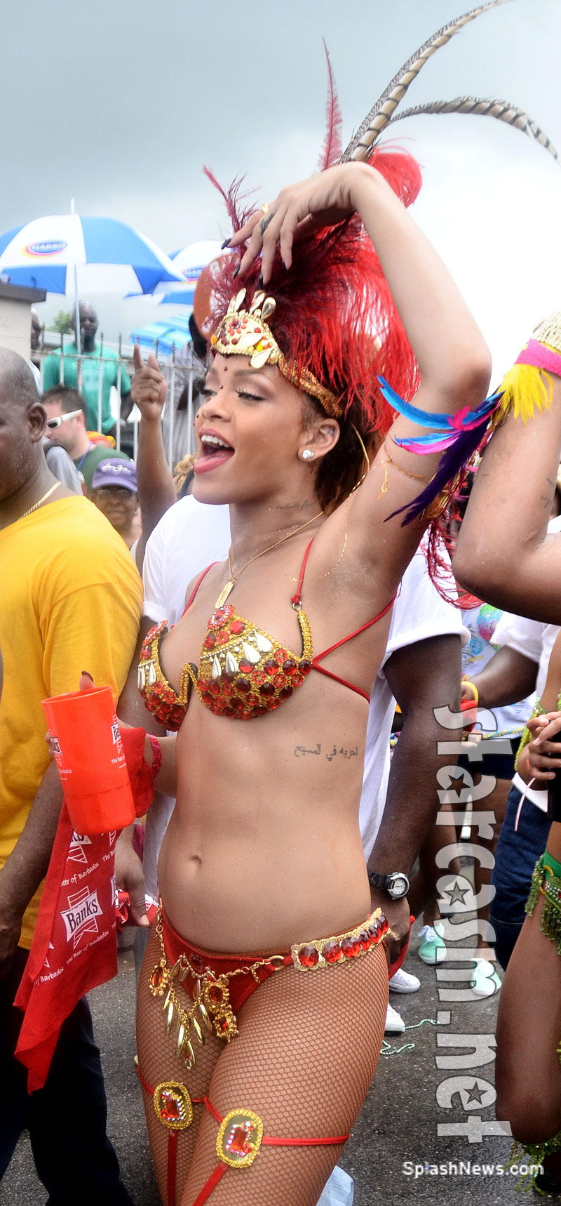 Rihanna parties in Barbados at Kadooment Day Parade