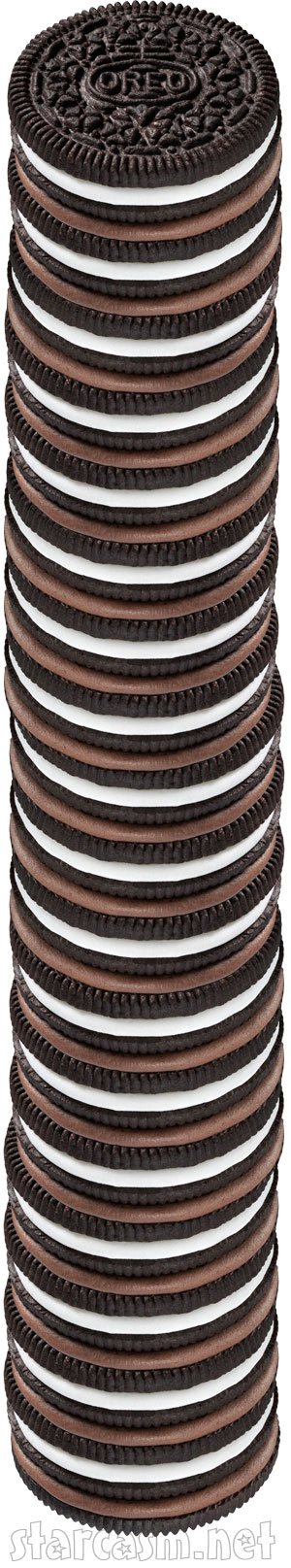 Tower constructed of many Triple Double Oreo cookies