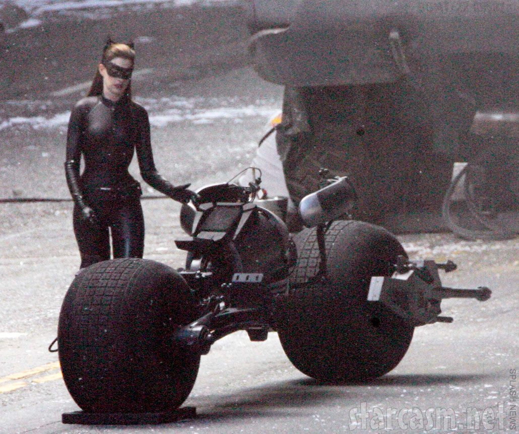 Anne Hathaway in her Catwoman catsuit on the set of Dark Knight rises