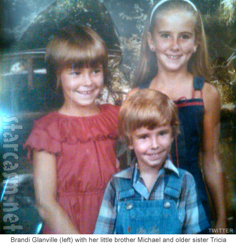 Brandi Glanville childhood photo with brother Michael and sister Tricia Ann