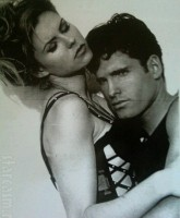 Brandi Glanville poses with a male model in a black and white photo