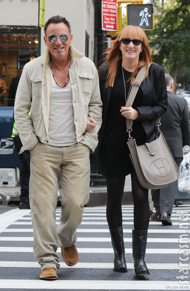 Bruce Springsteen walking with wife Patti Scialfa in New York City September 2011