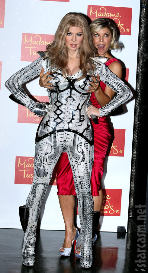 Fergie gropes the breasts of her own wax sculpture at Madame Tussauds