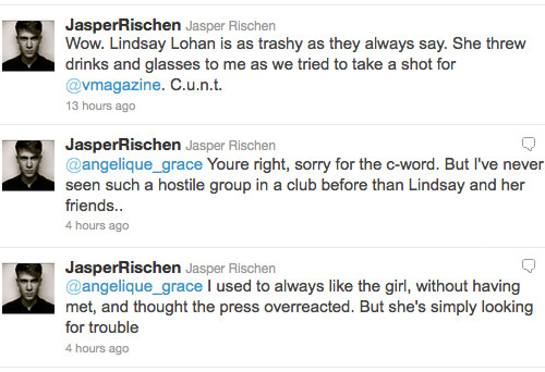 Photographer Jasper Rischen tweets about Lindsay Lohan throwing a drink on him