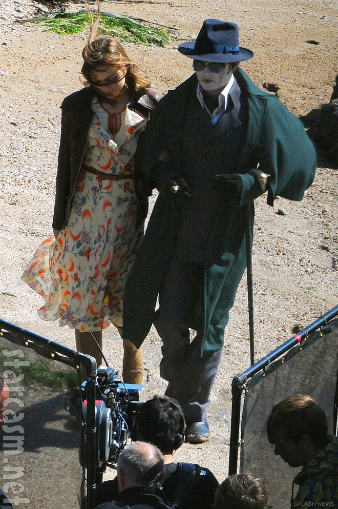 Johnny Depp as Barnabas Collins with Bella Heathcote on the set of Dark Shadows
