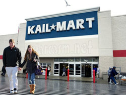 Kailyn Lowry and Jordan Wenner in front of a Kail-Mart store