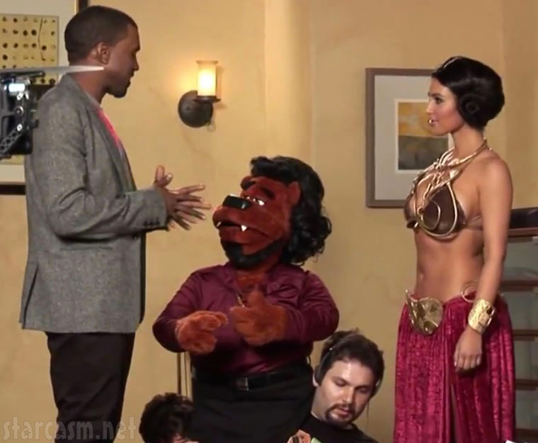 Alligator Boots with Kanye West and Kim Kardashian in a slave Leia costume from Star Wars