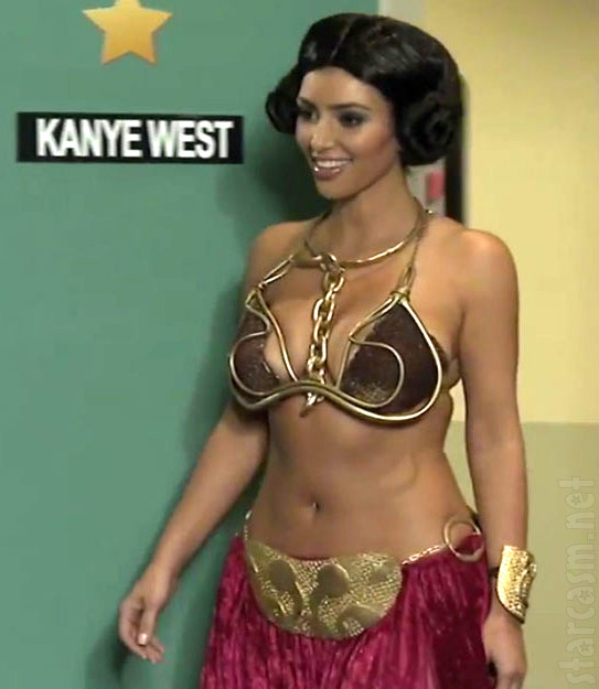 Kim Kardashian wearing a slave Leia costume on Kanye West's show Alligator Boots