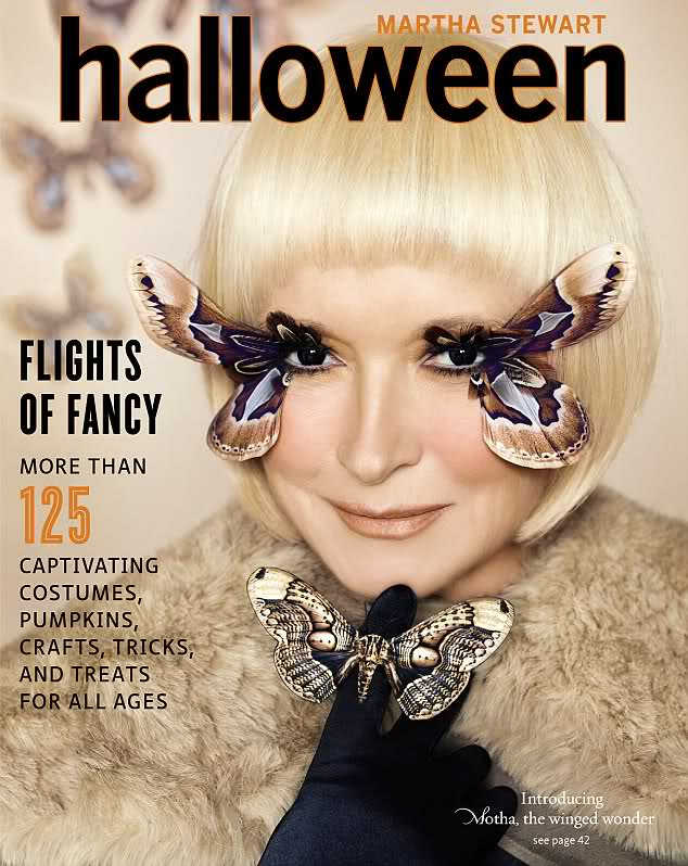 Martha Stewart in a Lady Gaga inspired moth Halloween Costume