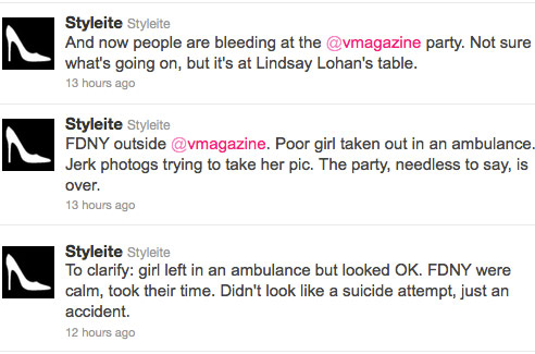 Styleite tweets about Lindsay Lohan incident at V Magazine's Black and White Ball