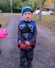 Teen Mom Maci Bookout's son Bentley in a Thomas the Tank Engine Halloween costume
